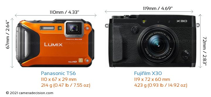 Panasonic TS6 vs Fujifilm X30 Camera Size Comparison - Front View