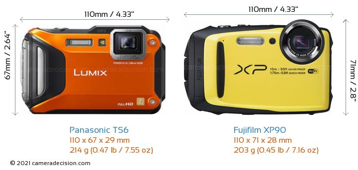 Panasonic TS6 vs Fujifilm XP90 Camera Size Comparison - Front View