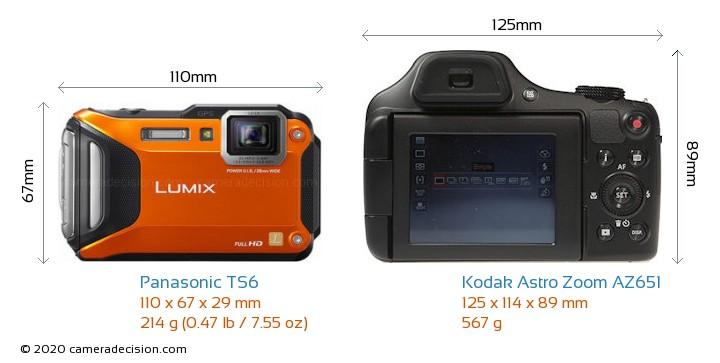 Panasonic TS6 vs Kodak Astro Zoom AZ651 Camera Size Comparison - Front View