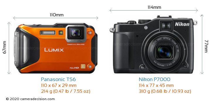 Panasonic TS6 vs Nikon P7000 Camera Size Comparison - Front View