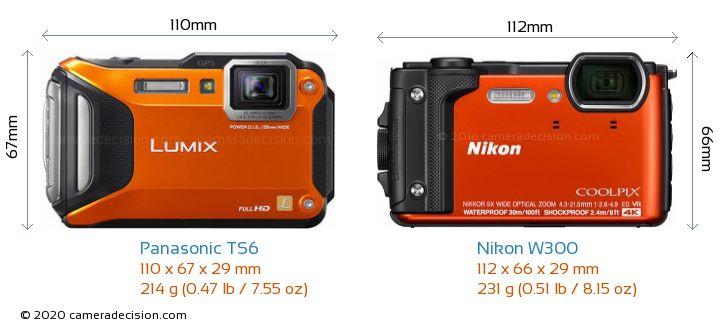 Panasonic TS6 vs Nikon W300 Camera Size Comparison - Front View