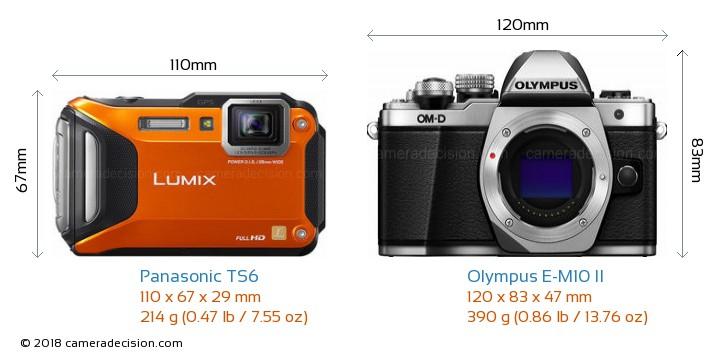 Panasonic TS6 vs Olympus E-M10 II Camera Size Comparison - Front View