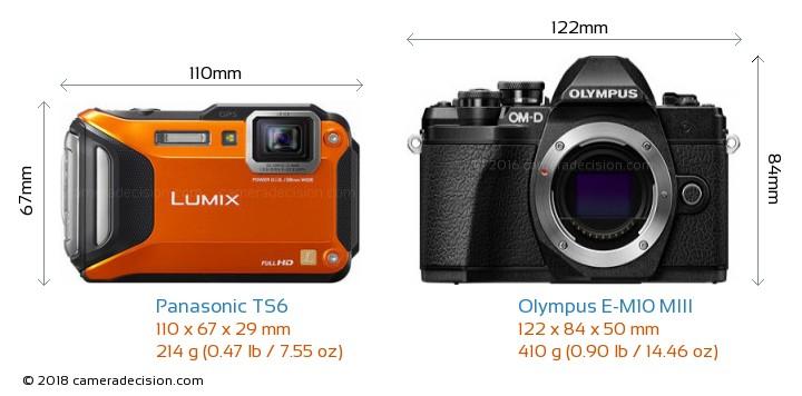 Panasonic TS6 vs Olympus E-M10 MIII Camera Size Comparison - Front View