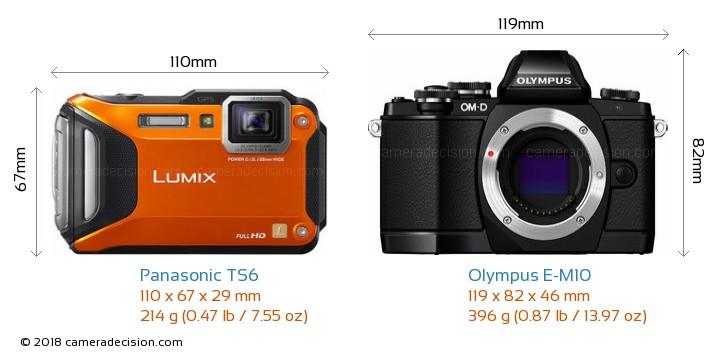Panasonic TS6 vs Olympus E-M10 Camera Size Comparison - Front View