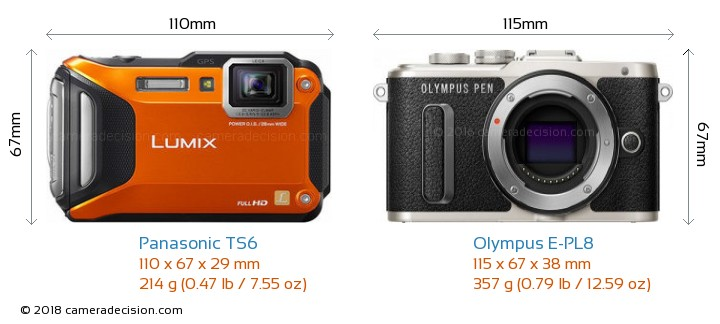 Panasonic TS6 vs Olympus E-PL8 Camera Size Comparison - Front View