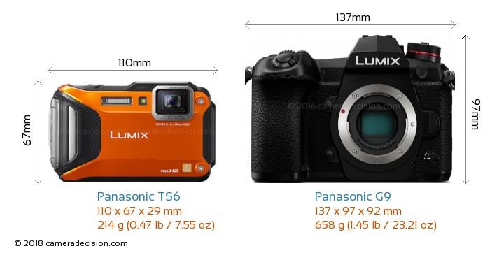 Panasonic TS6 vs Panasonic G9 Camera Size Comparison - Front View