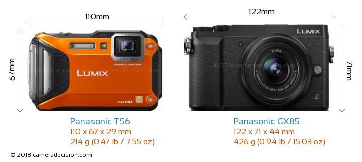Panasonic TS6 vs Panasonic GX85 Camera Size Comparison - Front View