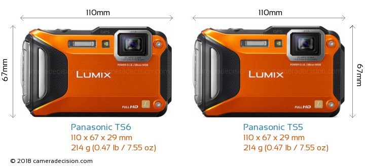 Panasonic TS6 vs Panasonic TS5 Camera Size Comparison - Front View