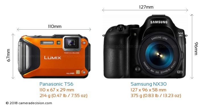 Panasonic TS6 vs Samsung NX30 Camera Size Comparison - Front View