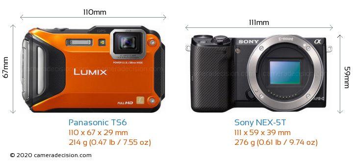 Panasonic TS6 vs Sony NEX-5T Camera Size Comparison - Front View