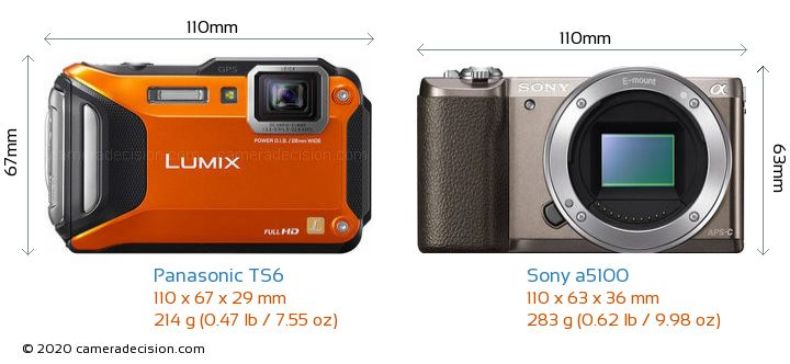 Panasonic TS6 vs Sony a5100 Camera Size Comparison - Front View