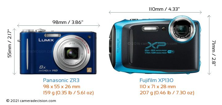Panasonic ZR3 vs Fujifilm XP130 Camera Size Comparison - Front View