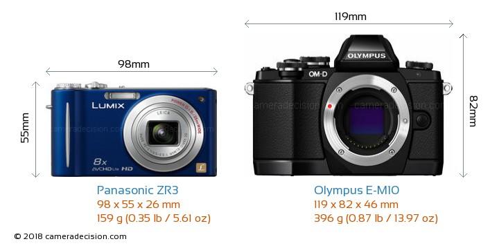 Panasonic ZR3 vs Olympus E-M10 Camera Size Comparison - Front View