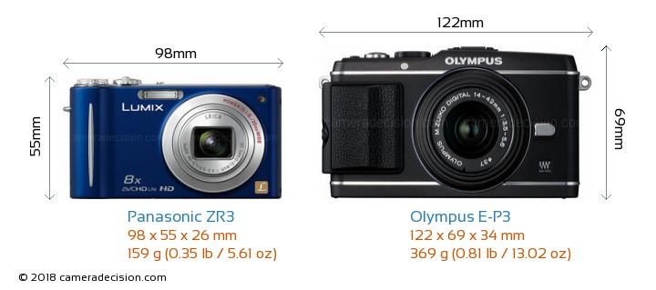 Panasonic ZR3 vs Olympus E-P3 Camera Size Comparison - Front View