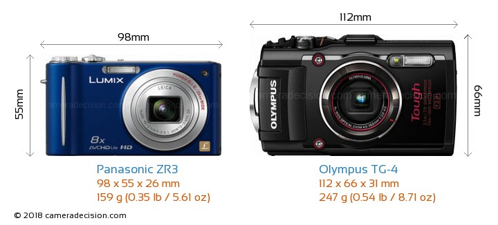 Panasonic ZR3 vs Olympus TG-4 Camera Size Comparison - Front View