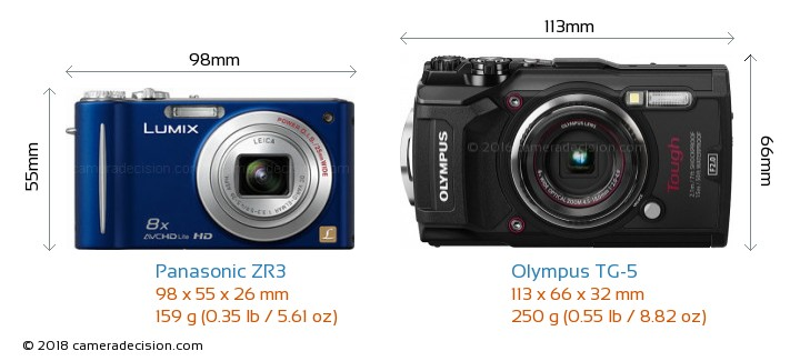 Panasonic ZR3 vs Olympus TG-5 Camera Size Comparison - Front View