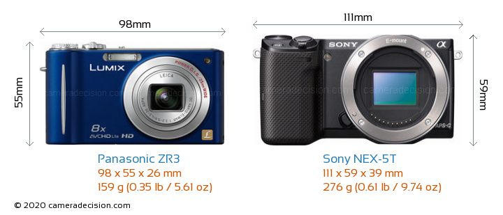 Panasonic ZR3 vs Sony NEX-5T Camera Size Comparison - Front View