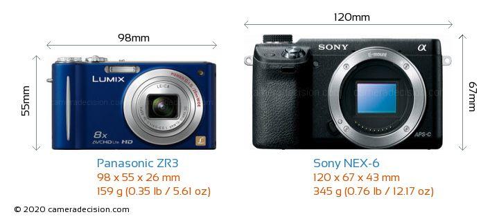 Panasonic ZR3 vs Sony NEX-6 Camera Size Comparison - Front View