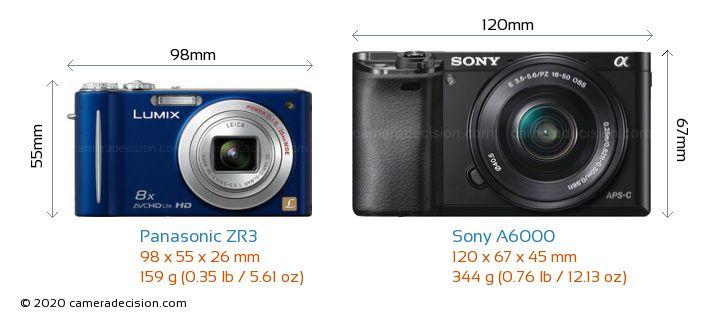 Panasonic ZR3 vs Sony A6000 Camera Size Comparison - Front View
