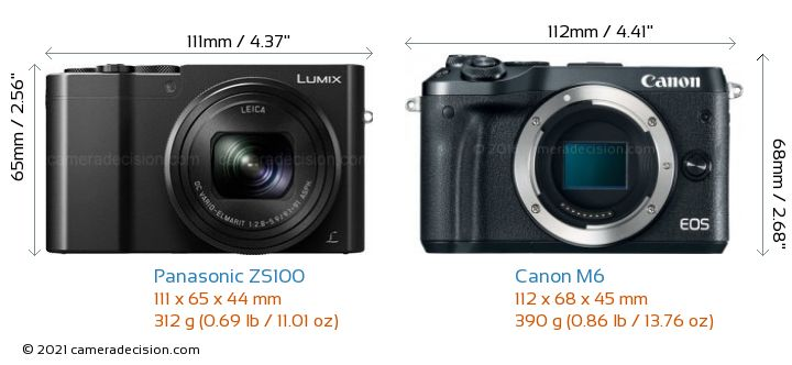 Panasonic ZS100 vs Canon M6 Camera Size Comparison - Front View