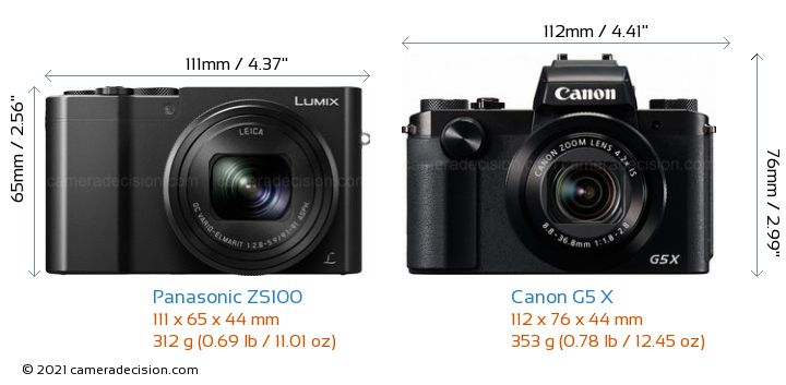Panasonic ZS100 vs Canon G5 X Camera Size Comparison - Front View