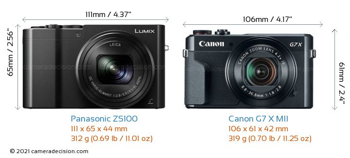 Panasonic ZS100 vs Canon G7 X MII Camera Size Comparison - Front View