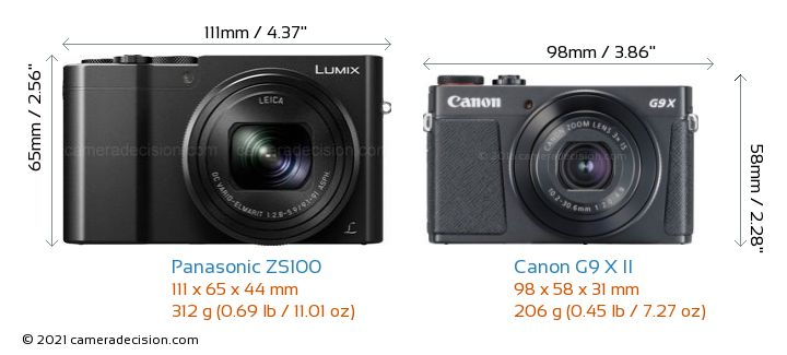 Panasonic ZS100 vs Canon G9 X II Camera Size Comparison - Front View