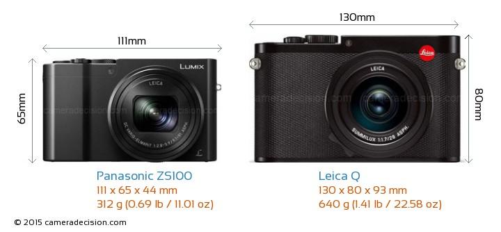 Panasonic ZS100 vs Leica Q Camera Size Comparison - Front View