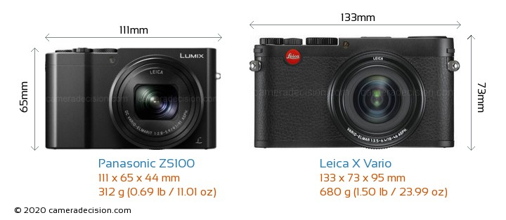 Panasonic ZS100 vs Leica X Vario Camera Size Comparison - Front View