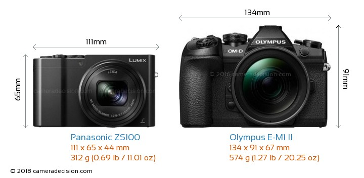 Panasonic ZS100 vs Olympus E-M1 II Camera Size Comparison - Front View