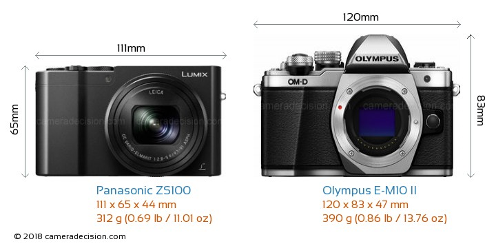 Panasonic ZS100 vs Olympus E-M10 II Camera Size Comparison - Front View