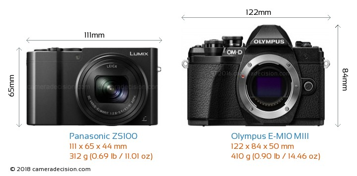 Panasonic ZS100 vs Olympus E-M10 MIII Camera Size Comparison - Front View