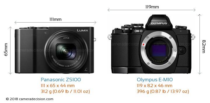Panasonic ZS100 vs Olympus E-M10 Camera Size Comparison - Front View