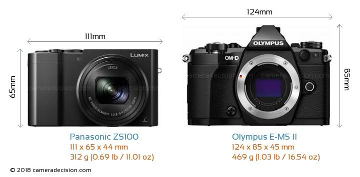 Panasonic ZS100 vs Olympus E-M5 II Camera Size Comparison - Front View