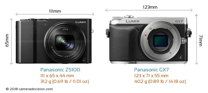 Panasonic ZS100 vs Panasonic GX7 Camera Size Comparison - Front View