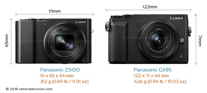 Panasonic ZS100 vs Panasonic GX85 Camera Size Comparison - Front View