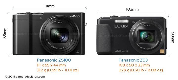 Panasonic ZS100 vs Panasonic ZS3 Camera Size Comparison - Front View