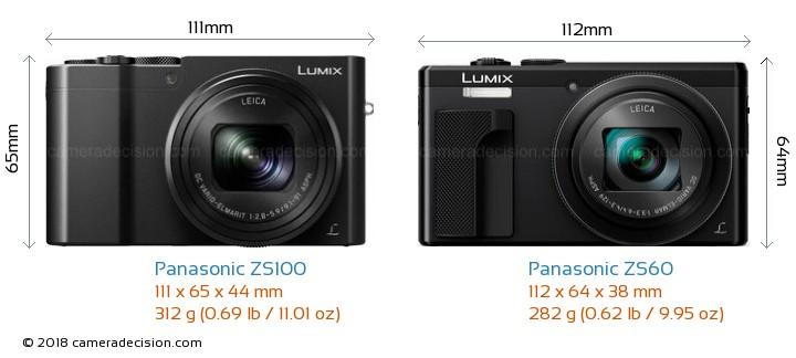 Panasonic ZS100 vs Panasonic ZS60 Camera Size Comparison - Front View