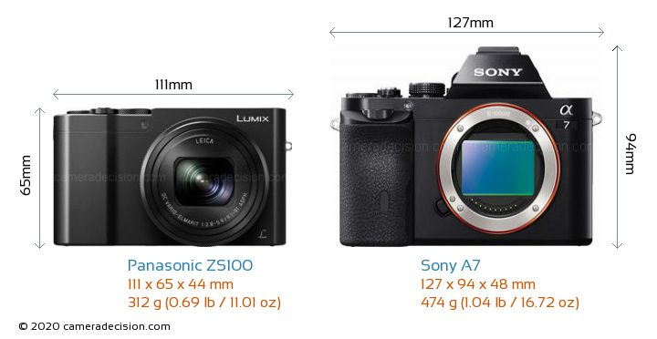 Panasonic ZS100 vs Sony A7 Camera Size Comparison - Front View