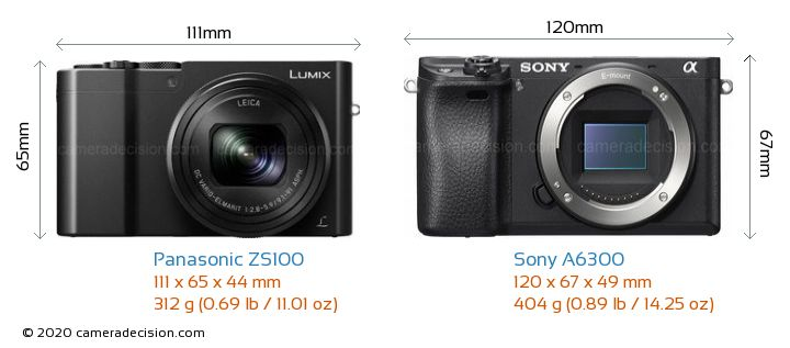 Panasonic ZS100 vs Sony A6300 Camera Size Comparison - Front View