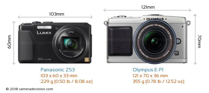 Panasonic ZS3 vs Olympus E-P1 Camera Size Comparison - Front View