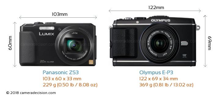 Panasonic ZS3 vs Olympus E-P3 Camera Size Comparison - Front View