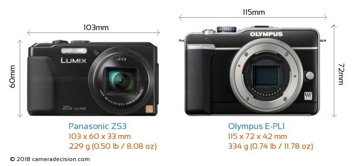 Panasonic ZS3 vs Olympus E-PL1 Camera Size Comparison - Front View