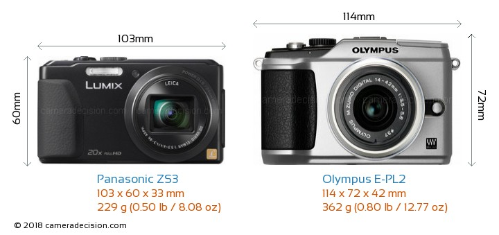 Panasonic ZS3 vs Olympus E-PL2 Camera Size Comparison - Front View