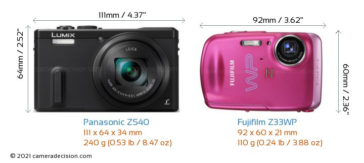 Panasonic ZS40 vs Fujifilm Z33WP Camera Size Comparison - Front View
