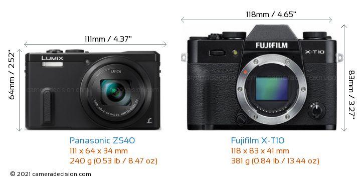 Panasonic ZS40 vs Fujifilm X-T10 Camera Size Comparison - Front View