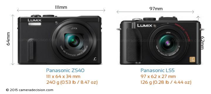 Panasonic ZS40 vs Panasonic LS5 Camera Size Comparison - Front View