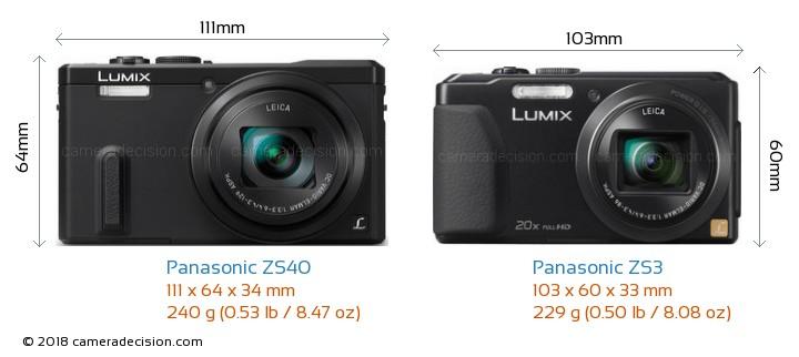 Panasonic ZS40 vs Panasonic ZS3 Camera Size Comparison - Front View