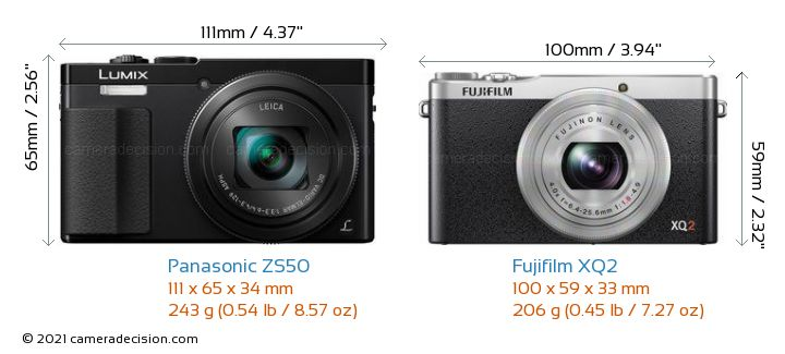 Panasonic ZS50 vs Fujifilm XQ2 Camera Size Comparison - Front View