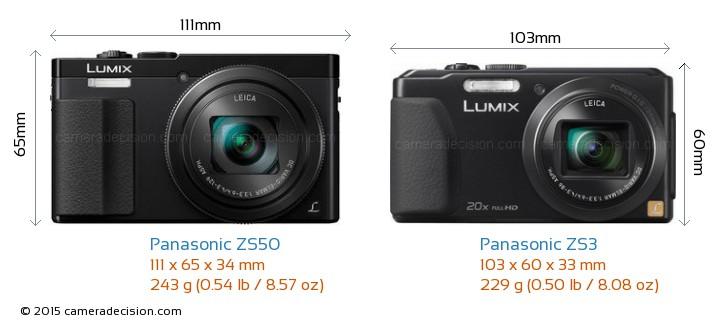 Panasonic ZS50 vs Panasonic ZS3 Camera Size Comparison - Front View